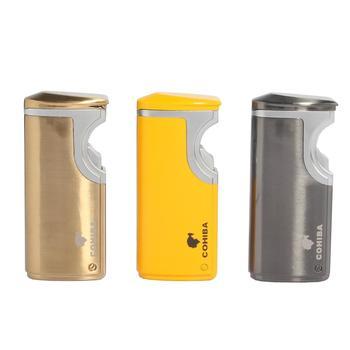 COHIBA Electric USB Cigar Lighter 3 Jet Torch Lighters Windproof Metal Cigarette Lighter Butane Gas Refillable W/ Cigar Punch