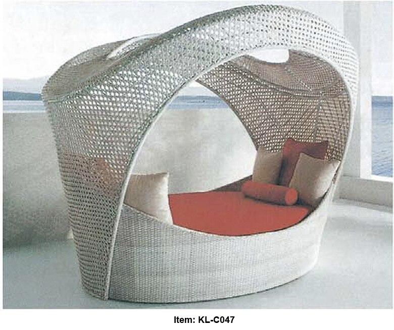 Birdu0027s Nest Outdoor Wicker Modular Day Bed Sun Lounge Ottoman Table Rattan  Furniture Setting