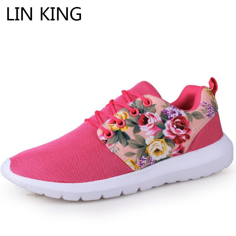 LIN KING Breathable Mesh Women Flats Shoes Floral Lace Up Summer Casual Shoes Low Top Comfortable Travel Sneakers Zapatos Mujer lin king women casual shoes leisure lace up wedge shoes fashion low top massage ankle shoes solid massage outdoor single shoes