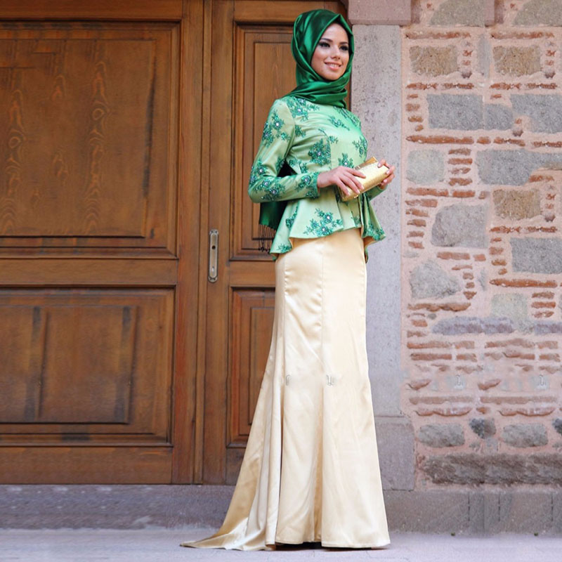 Hot Sale Green Muslim Evening Dress Saudi Arabia With Tassel Long font b Hijab b font