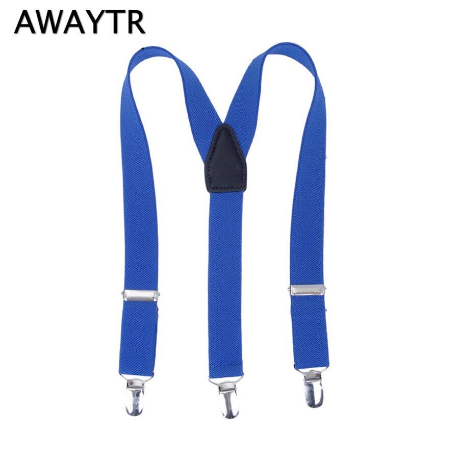 AWAYTR 2017 Hot Simple Suspenders Y Back Adjustable Braces for Kids Leather Straps Suspensorio Tirantes Navy Color
