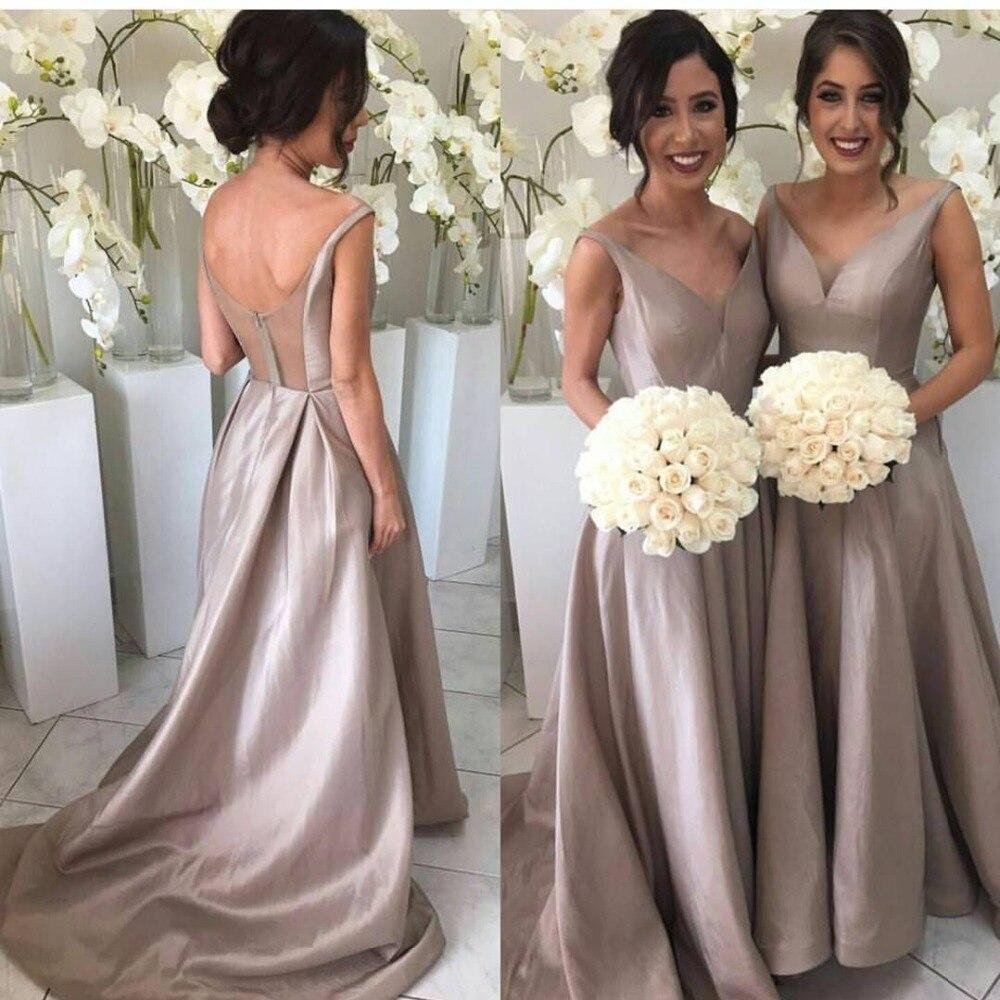 Simple New   Bridesmaid     Dresses   2019 V-Neck Sleeveless vestidos de fiesta de noche Floor Length Satin abiye gece elbisesi Party