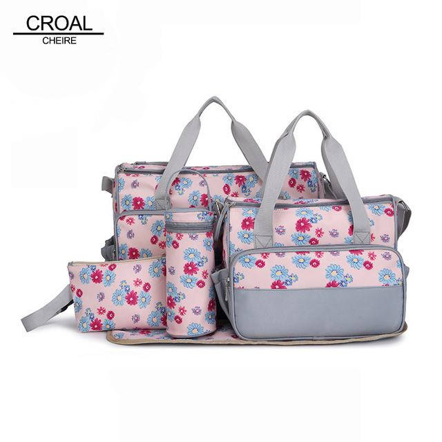 40*30*18CM 5pcs Beautiful Flower Baby Diaper Bags Suit Maternity Nappy Baby Stroller Changing Bag Organizer Women Messenger Bags
