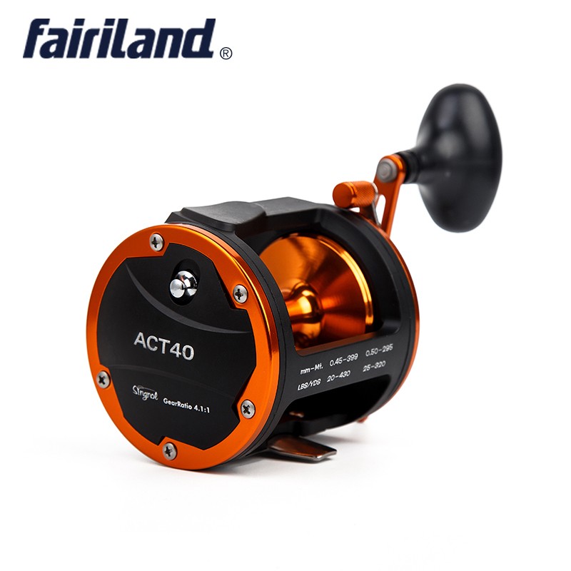 цена на Drum Trolling Reel 3BB+1RB 636g/22.4oz 4.1:1 (40A/B) RIGHT HAND 18Kg Drag Power Boat Fishing Reel Saltwater/Freshwater