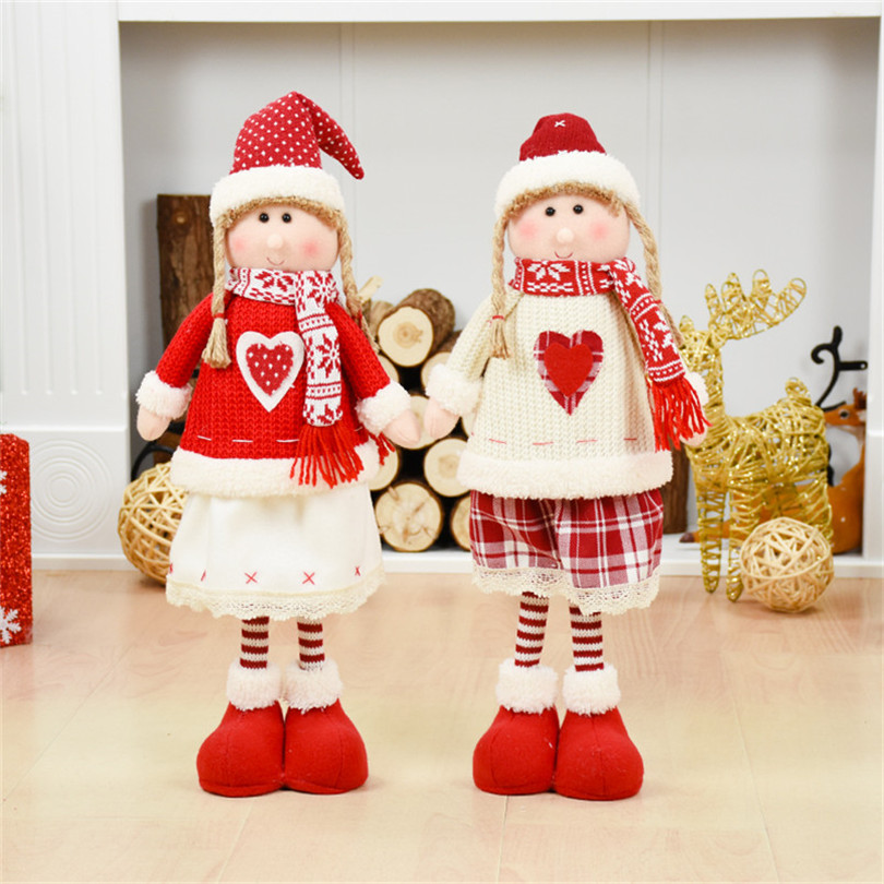 Vermelho natal bonecas decoração de natal para casa papai noel boneco de neve brinquedos presente de natal estatuetas adornos de navidad para casa