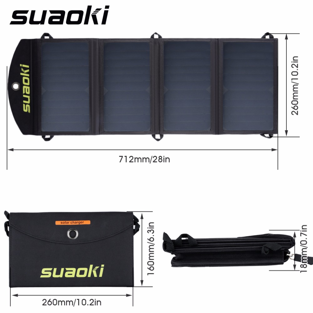 Suaoki 25W Solar Panels Portable Folding Foldable Waterproof Solar Panel Charger Power Bank for Phone Battery Charger foldable portable phone flat bracket