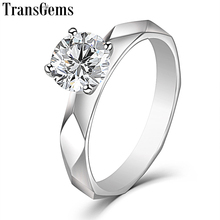 TransGems 14K White Gold Solitaire 1ct 6.5mm F Color Moissanite Engagement Ring for Women Wedding Gold Ladies Ring