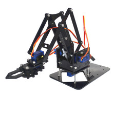 DIY 4-Dof Robot Mechanical Arm with 4 Servos Circuits Kits for Arduino Scientific Exploration Educational Toy(China)