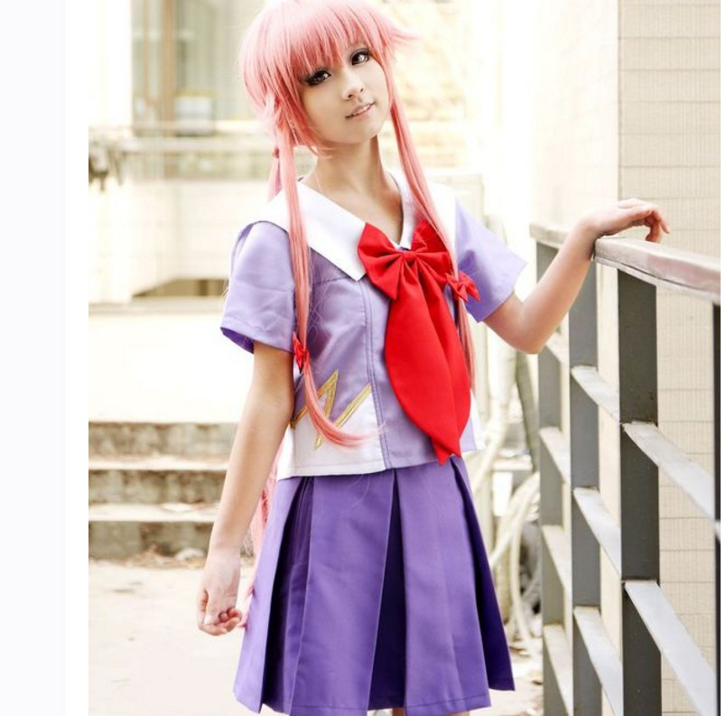 Hot Anime Future Diary Cos Mirai Nikki Yuno Gasai Women School Uniform Dress for Girl Halloween Party Cosplay Costume