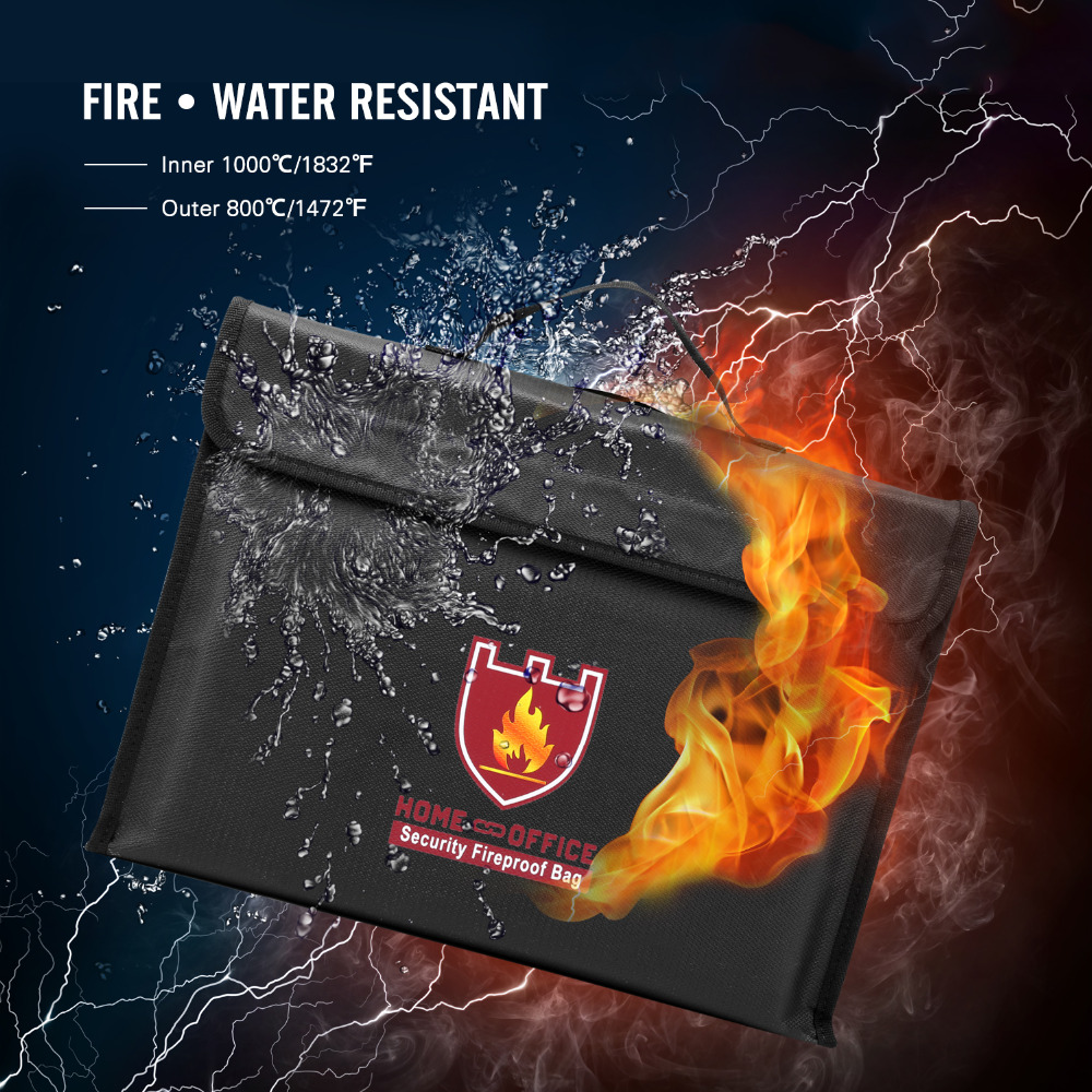 Fireproof Money & Document Bag,Fire & Water Resistant Large Cash & Envelope Holder with Handle, Protect Your Valuables,Documents