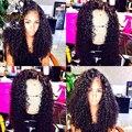 Kinky Rizado Brasileño Llena Del Cordón Llena Del Cordón Pelucas de Pelo Humano Para Las Mujeres negras Afro Rizado Pelucas Delanteras Del Cordón Con El Pelo Del Bebé Frontal peluca