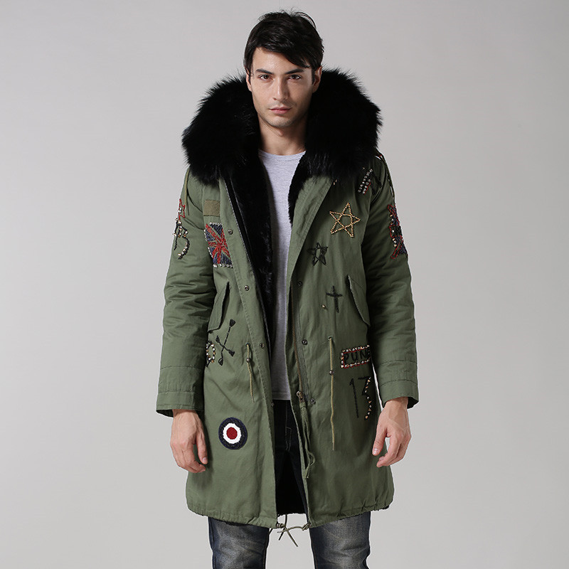 UK style army green coat black inside long jacket real big raccoon fur collar with faux fur lining beading hood men fur parka