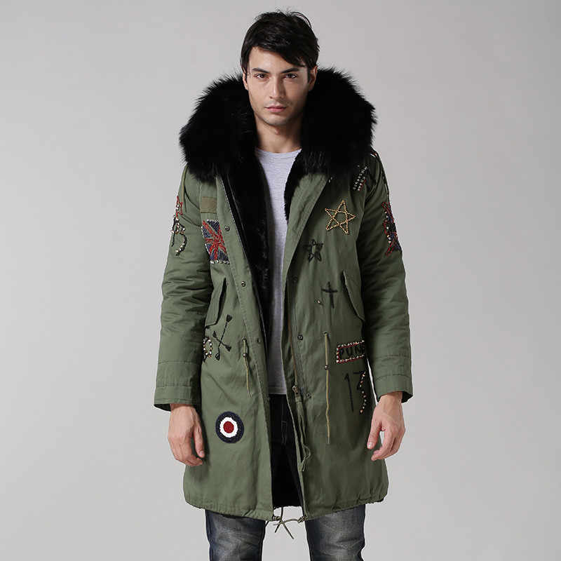 6e51934b6957e UK style army green coat black inside long jacket real big raccoon fur  collar with faux