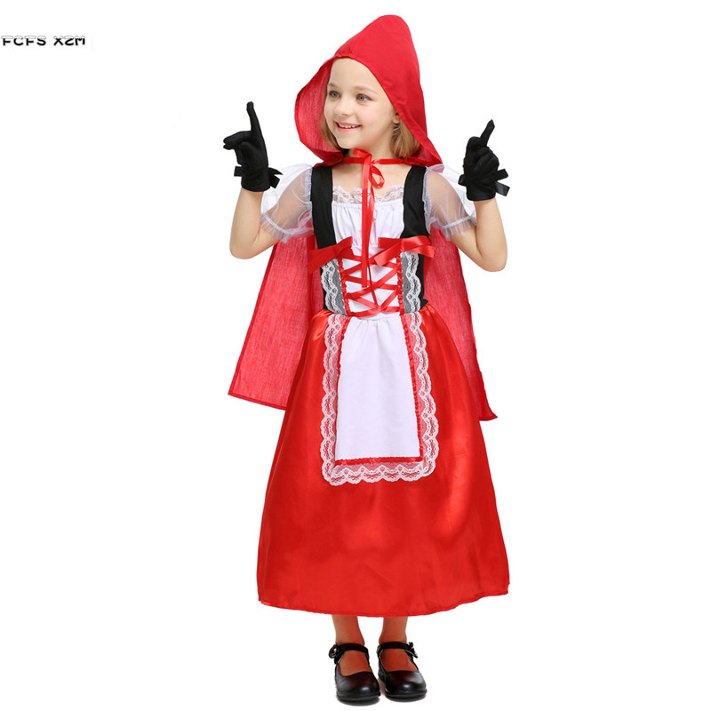 S XL Girls Little Red Riding Hood Cosplays Kids Halloween Anime Costumes Children's day Purim Stage play Masquerade party dress