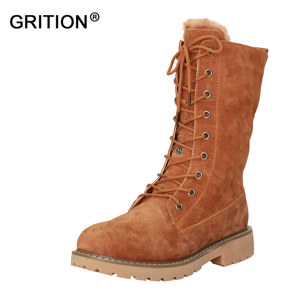 GRITION Winter Snow Boots Women British Style Martin Boots Flat Boots Fashion Warm Shoes Black Green Camel Zapatos Mujer цены онлайн