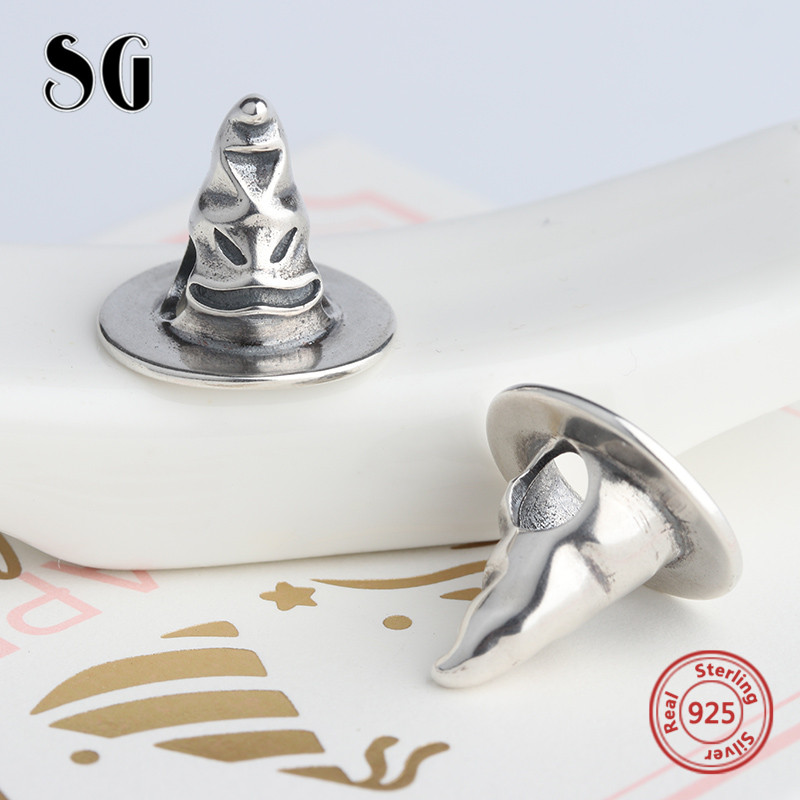 3a380b3d7 Fit Original pandora bracelets sterling Silver 925 oxidation hat Charms  antique Beads Pendant Jewelry Making for