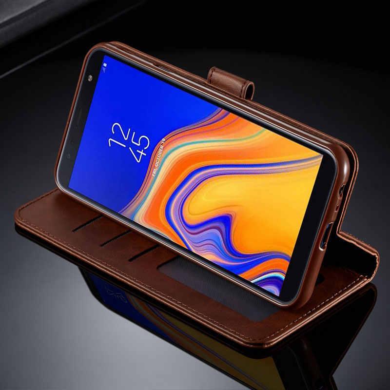 Funda para Samsung Galaxy J4 J6 Plus de lujo de alta calidad cartera magnética Flip Funda de cuero para SAMSUNG J 6 4 2018 funda de teléfono