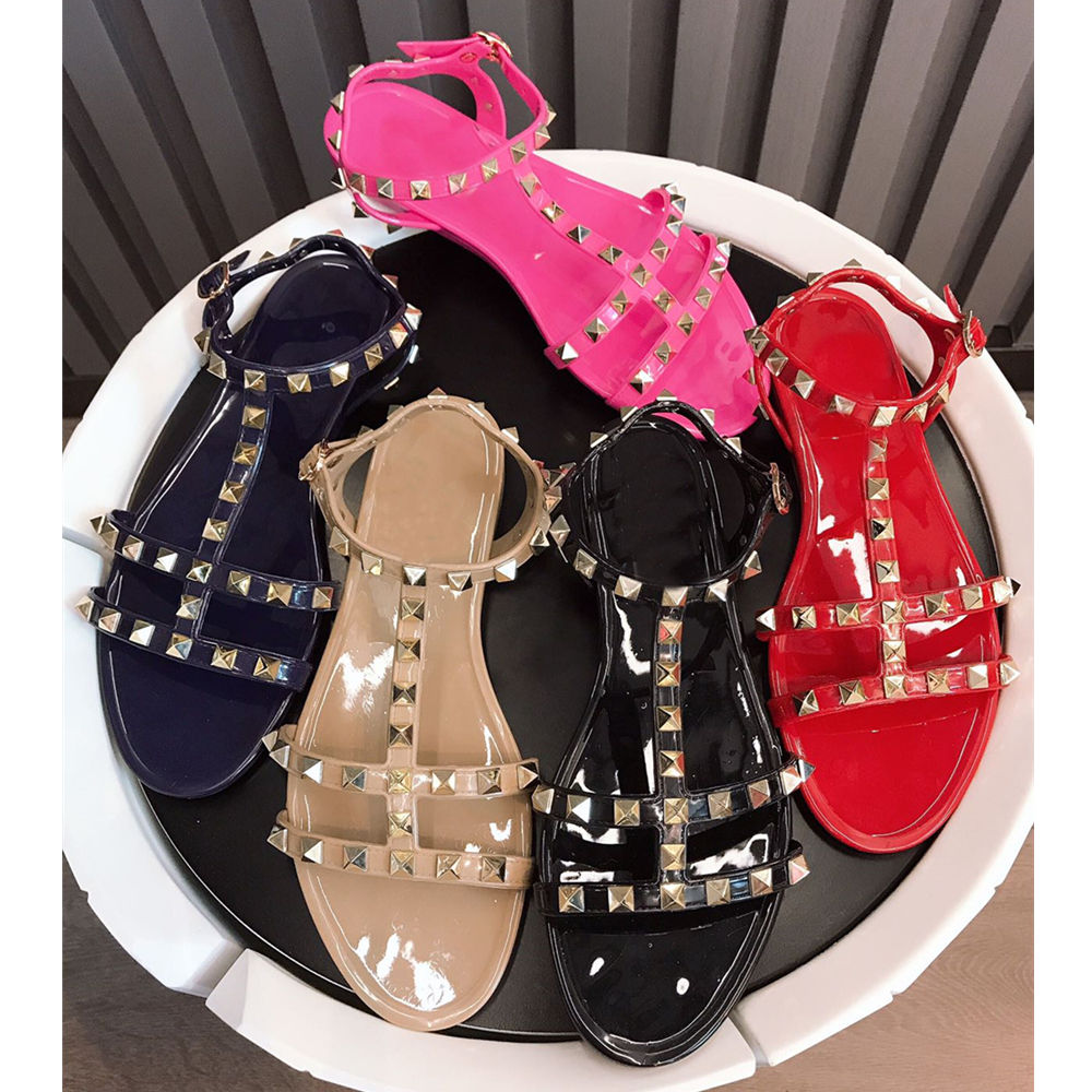 Stkehidba Women s Shoes Summer New Sandals Slippers Flat With Rivets Sandals Flip flops Garden Jelly