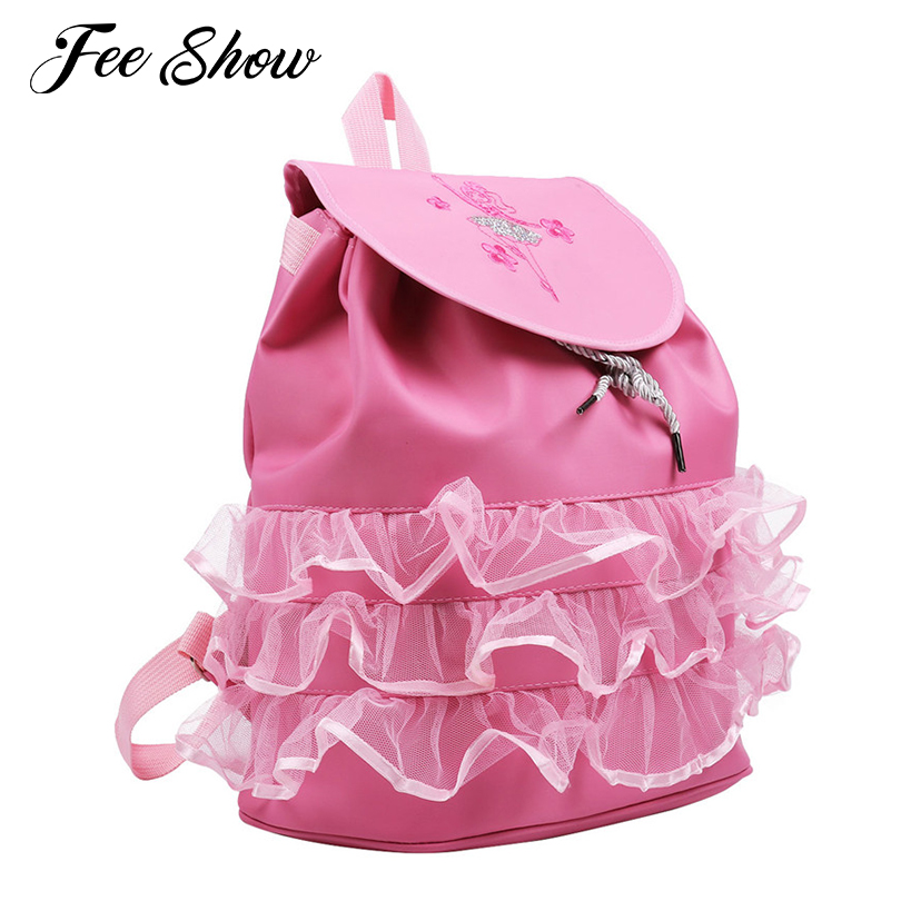 Kids Children Girls Ballet Bag Backpack Drawstring Shiny Sequins Ballerina/Toe Shoes Pattern Mesh Ruffles Girls Sports Dance Bag