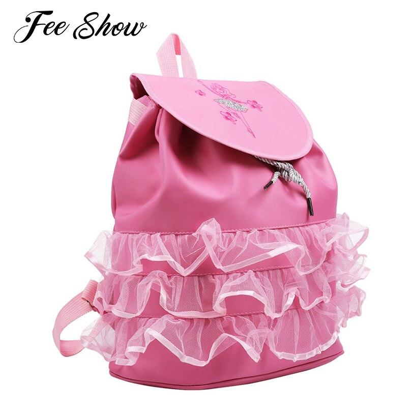 Kids Children Girls Ballet Bag Backpack Drawstring Shiny Sequins Ballerina/toe Shoes Pattern Mesh Ruffles Girls Sports Dance Bag