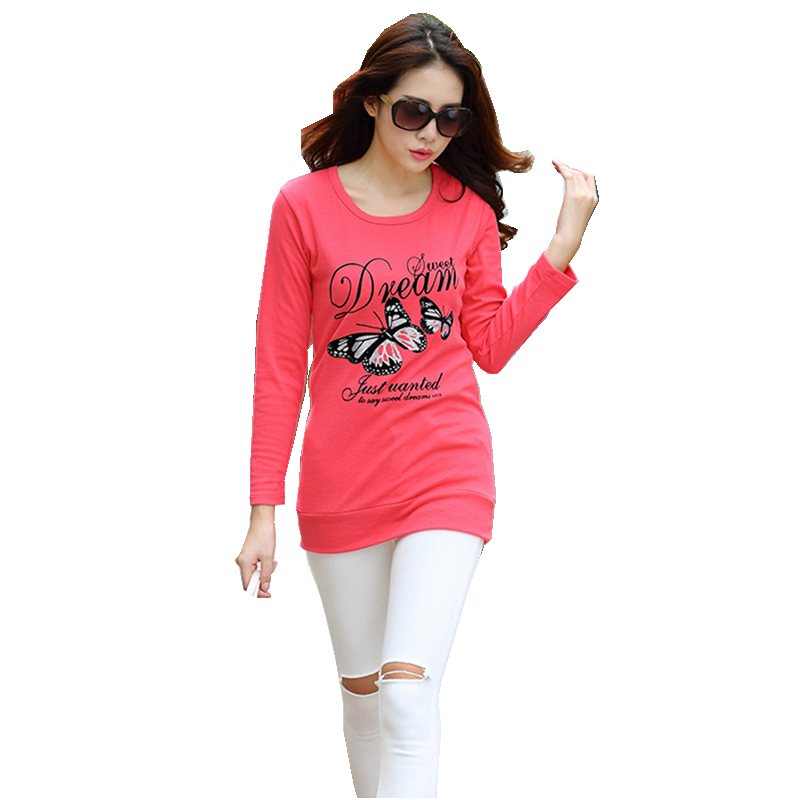 Autumn watermelon tee shirt full sleeve crewneck long t for Full hand t shirts for womens