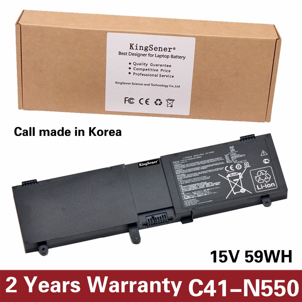 купить KingSene Korea Cell New C41-N550 Battery for ASUS N550 N550JA N550JV N550X47JV N550X47JV-SL C41-N550 59WH Free 2 Years Warranty по цене 2881.73 рублей
