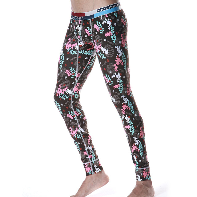 Men Winter Long Johns Singlet Underwear Pants Comfy Cotton Sexy U Bulge Gay Male Thermal Leggings Seobean Brand Quality Clothing