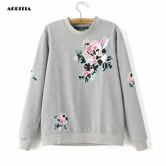 2017 Women Floral Embroidery Sweatshirts Streetwear Long Sleeve O-neck  Hoody Loose Moletom