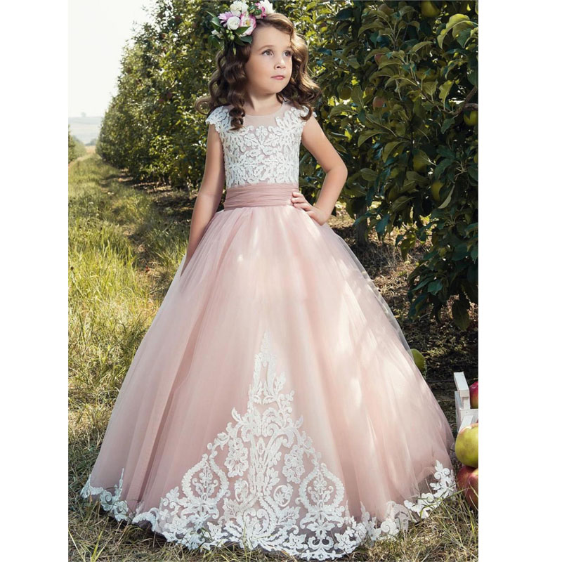 Flower     Girl     Dresses   For Weddings 2019 tulle pink Applique Cap Sleeve Kids Ball Gown bow First Communion   Dress   Pageant Gowns