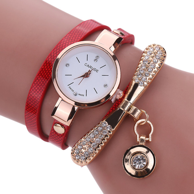Women Watches Fashion Casual Bracelet Watch Women Leather Rhinestone Analog Quar