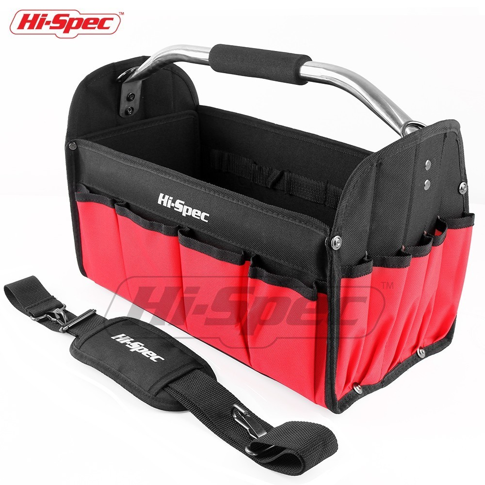 Hi-Spec 16 Inch Waterproof Tool Bag 600D Polyester Tote Bag Open Top Men Travel Bags Large Capacity Crossboy Shoulder Bags