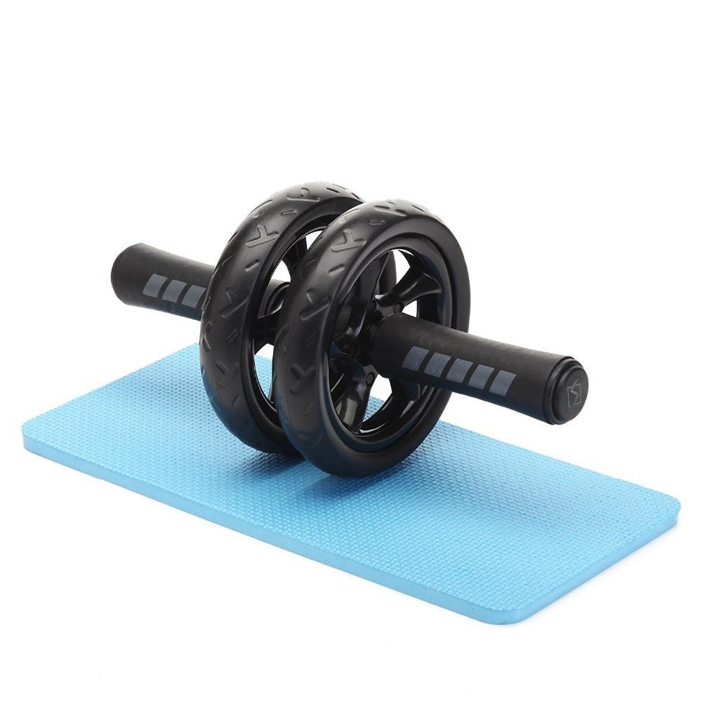 New Keep Fit Wheels No Noise Double Abdominal Wheel Ab Roller With Mat For Exercise Fitness Equipment Man Women GYM image