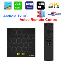 RK10 Smart TV Box Android TV OS With Voice Remote Control RK3328 Quad core 2GB RAM 16GB ROM WIFI USB3.0 3D 4K HDR10 Set Top Box