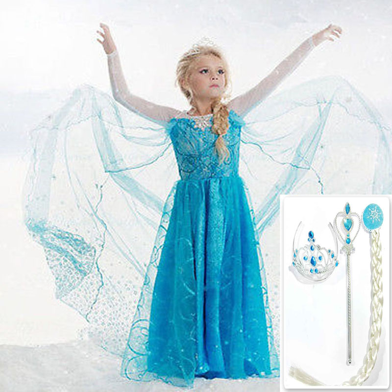 Christmas Girls Elsa dress costume Princess Anna party dresses cosplay Summer Baby Kids Fashion Dresses Kitty baby girl clothes children anna elsa princess birthday dresses cosplay party fancy costume with cape christmas dress child blue red clothes kids