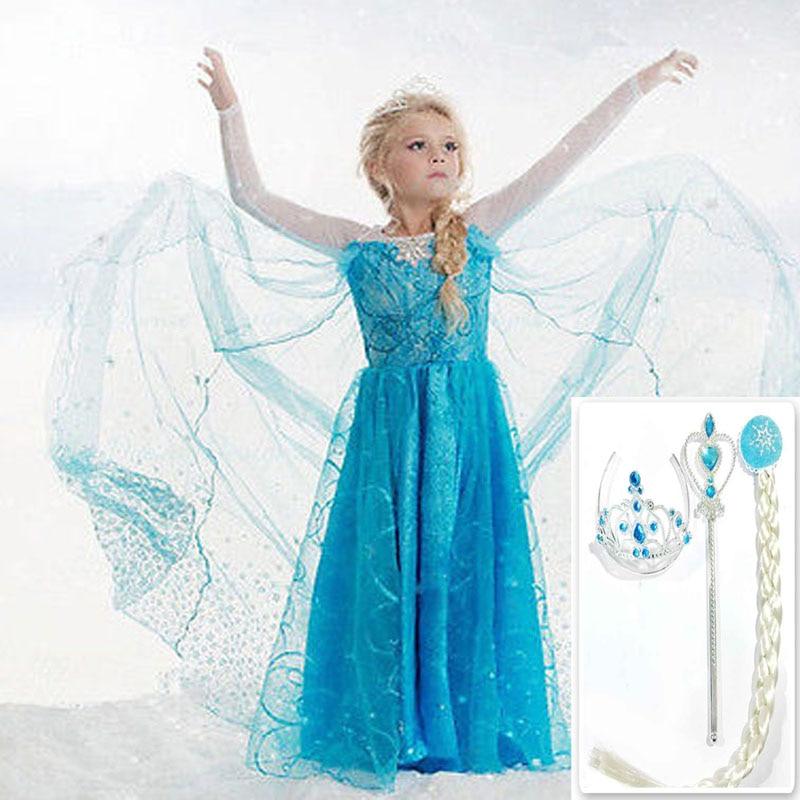 Weihnachten Mädchen Elsa kleid kostüm Prinzessin Anna partei kleider cosplay Sommer Baby Kinder Mode Kleider Kitty baby mädchen kleidung