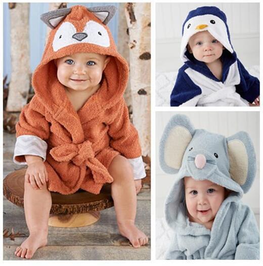 Los niños de la muchacha del Animal albornoz con capucha para bebé niños toalla de baño del bebé traje de bebé toalla de la historieta