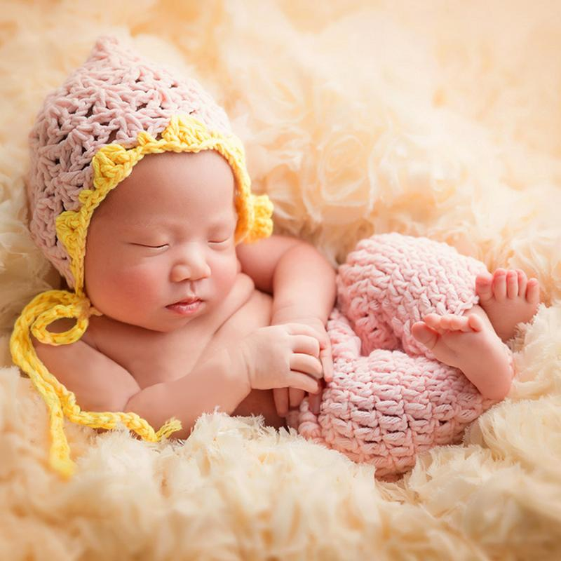 Baby Crochet Photography Props Newborn Photo Cool Boy Costumes Infant Beanies And Pants Clothing Set Fotografia