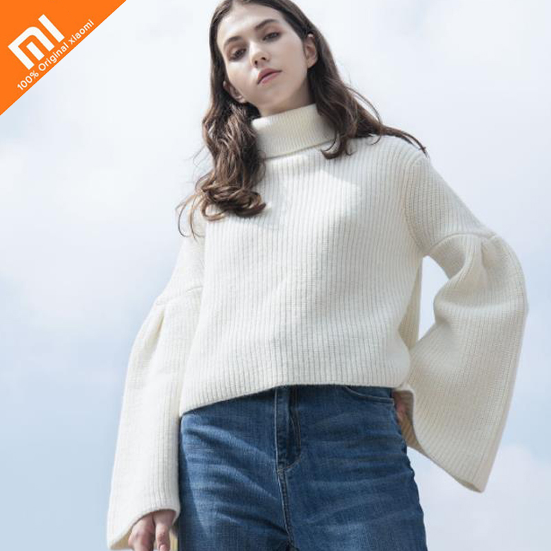 Original xiaomi mijia PPT trumpet sleeve fashion sweater trendy atmosphere sweater anti-pilling female knitwear loose top HOT choker neck trumpet sleeve velvet top
