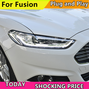 Image 2 - Car styling Head Lamp Case For Ford Mondeo For Fusion 2013 2014 2015 Headlights LED Headlight DRL Double Beam Lens Bi Xenon HID