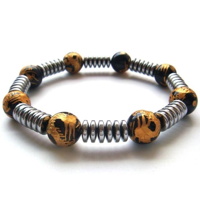 2017 New 1PC Natural Stone Hematite Rondelle Beads Dragon Tibetan Agate 6 Syllable Mantra Stretch Bracelet Gift Box
