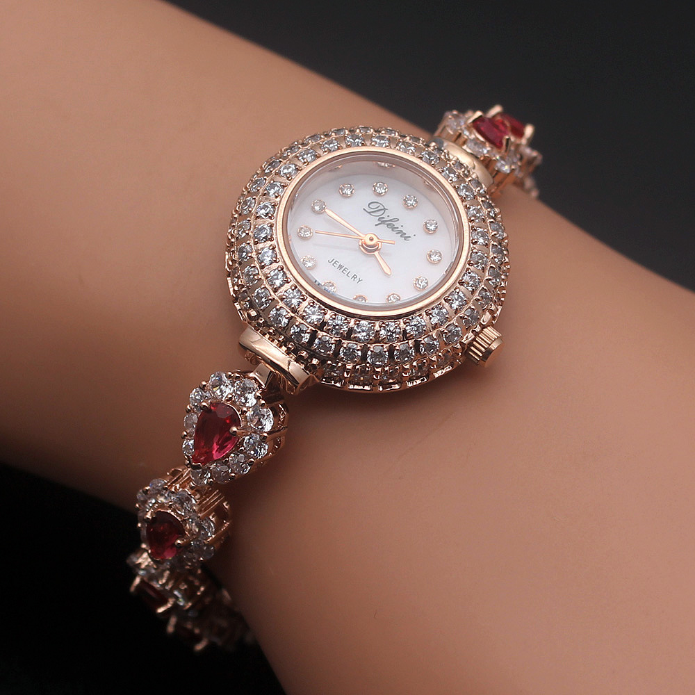 Hermosa Jewelry Cherry color Water droplets Fashion round rose gold watches HS0088W недорго, оригинальная цена