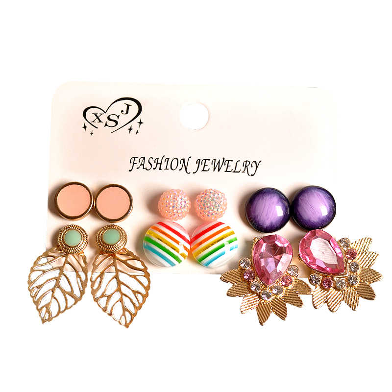 新ファッション女性ジュエリー卸売ガールパールパープル-ピンク耳スタッドマッシュアップ 6 ペア/セット美しいのイヤリング送料無料
