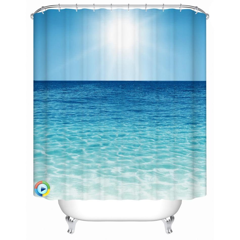 Beachy shower curtains - Beach Pattern Shower Curtain Waterproof Fabric Bath Accessory 3d Printing Ocean Curtain For Bathroom Green Blue