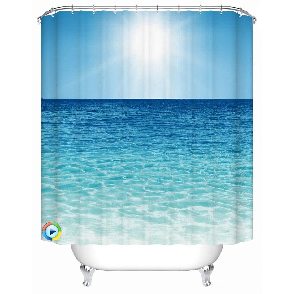 Ocean shower curtains - Beach Pattern Shower Curtain Waterproof Fabric Bath Accessory 3d Printing Ocean Curtain For Bathroom Green Blue