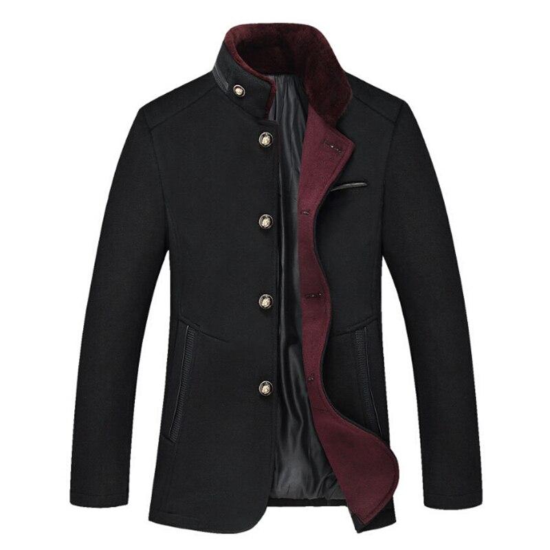 Для мужчин Шерстяные пиджаки зимние кашемировые Куртки Для мужчин; Длинная Куртка с секциями Однобортный пальто отложной воротник модные ш...