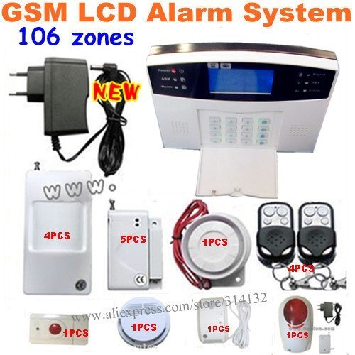 106 zones GSM home burglar alarm system+4 PIR sensor+5 door/window sensor+ 4 remote controller+smoke/gas detector+outdoor siren