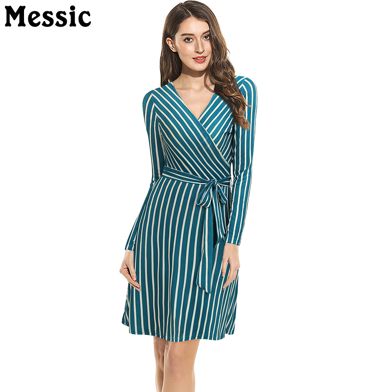купить Women's Striped V Neck Long Sleeve Casual Mini Dress with Belted Knitted Chic Sexy Office Lady Dresses A Line Party Robe Femme недорого