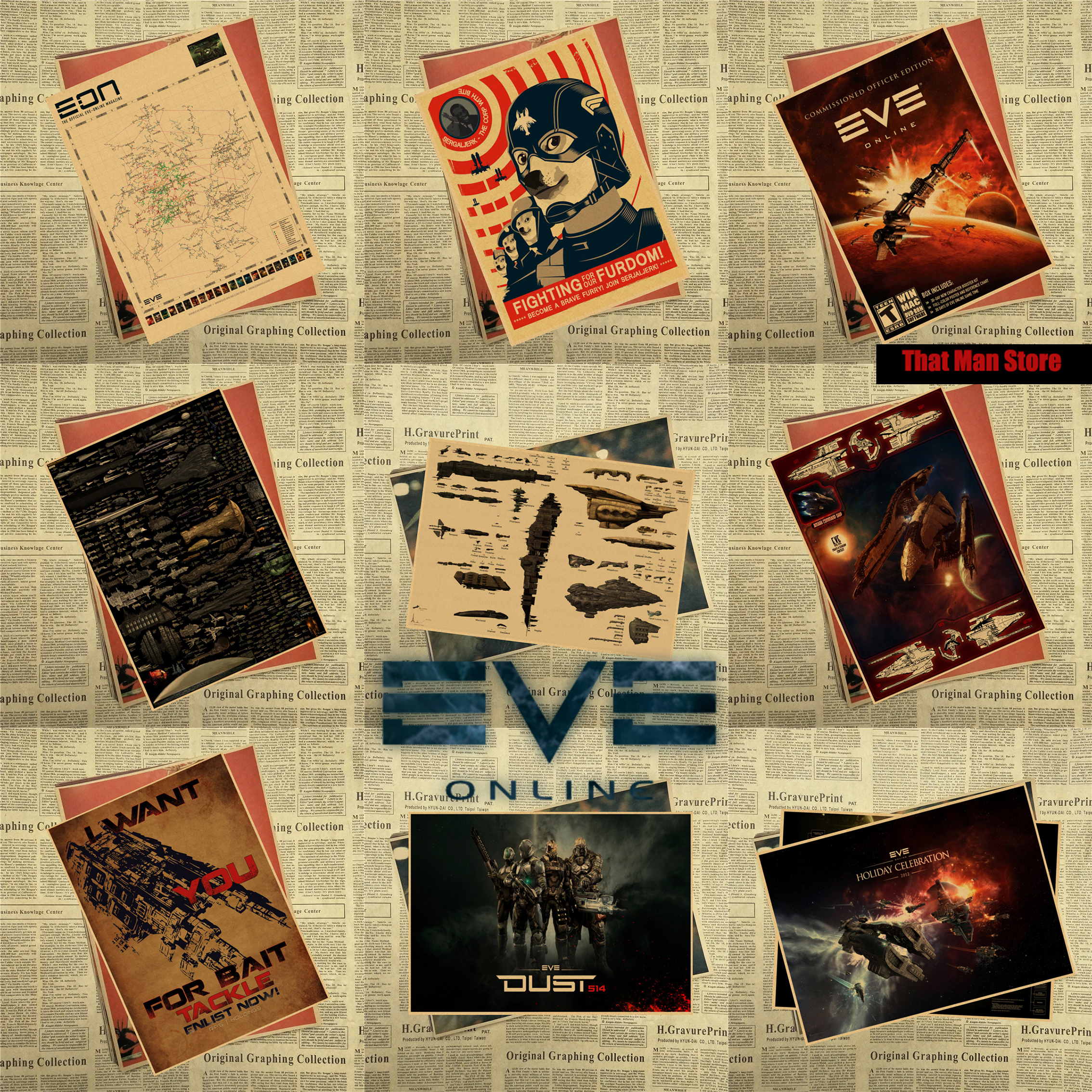 Eve Online Game sci fi space nebula stars spacecraft flight Vintage ...