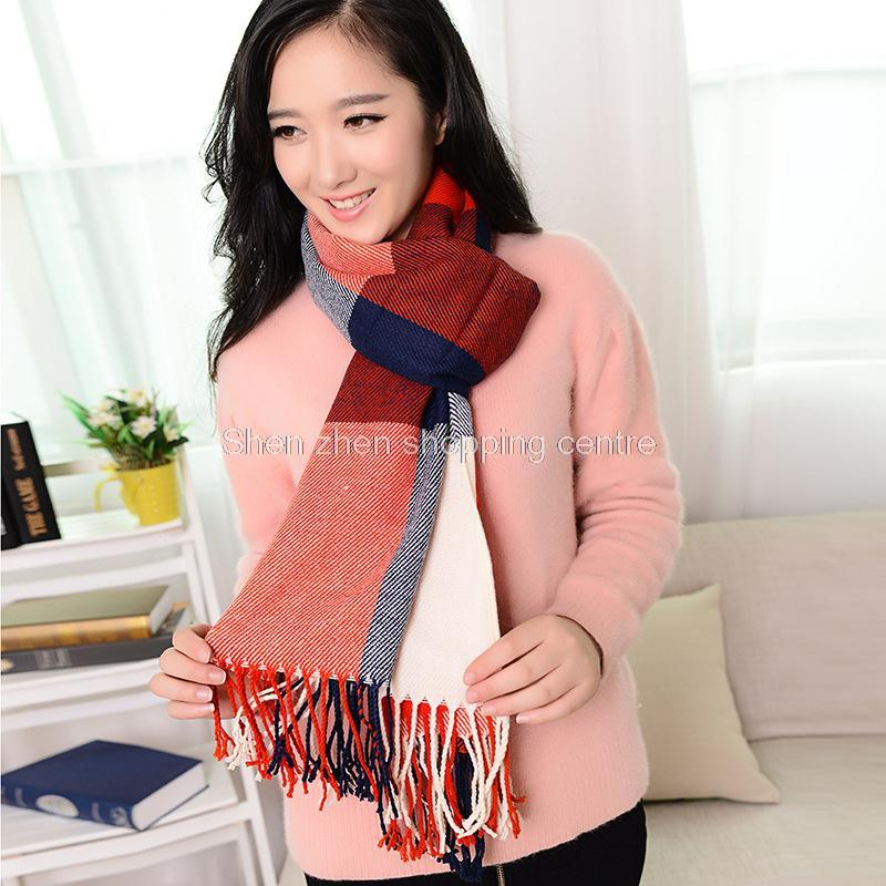 New Winter colorful Plaid scarf for women fashion shawls cashmere font b Tartan b font scarves