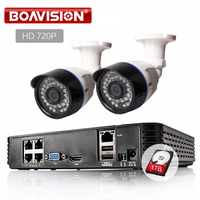 H 264 IP Camera 4CH 1080P POE NVR Kit 2PCS 1 0MP 15V POE P2P 1280